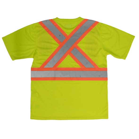 Work King Safety Class 2 Hi Vis Two-Tone X-Back T-Shirt with Pocket S392 Fluorescent Green Back