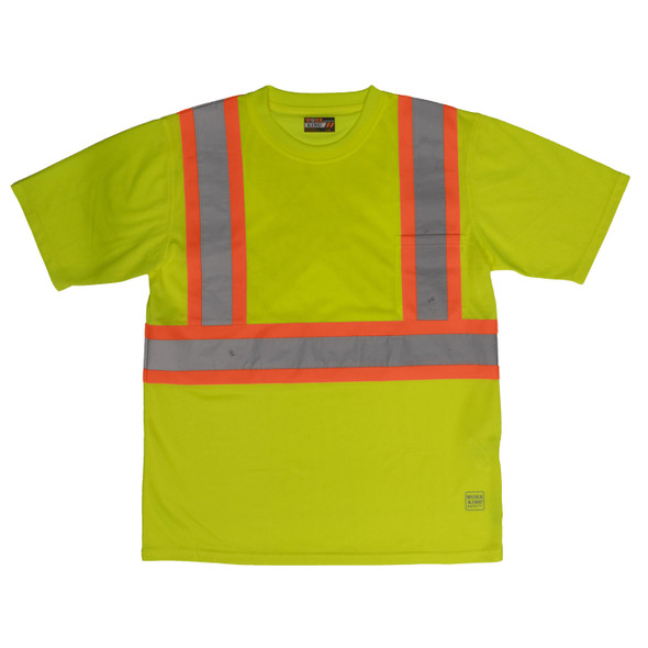 Work King Safety Class 2 Hi Vis Two-Tone X-Back T-Shirt with Pocket S392 Fluorescent Green Front