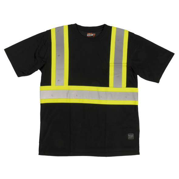 Work King Safety Class 1 Enhanced Vis Black Two-Tone X-Back T-Shirt with Pocket S392-BLK Front
