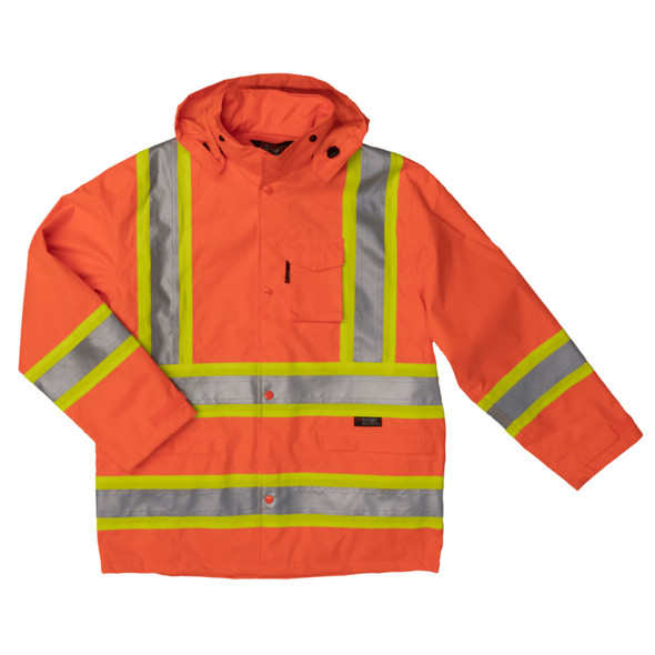 Work King Safety Class 3 Hi Vis Two-Tone X-Back Rain Jacket S372 Fluorescent Orange Front
