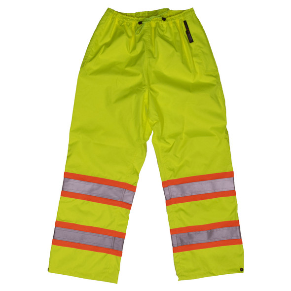 Work King Safety Class E Hi Vis Two-Tone Rain Pants S374 Fluorescent Green Front