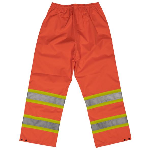 Work King Safety Class E Hi Vis Two-Tone Rain Pants S374 Fluorescent Orange back