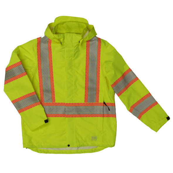 Work King Safety Class 3 Hi Vis Segmented Two-Tone X-Back Rain Jacket SJ05 Fluorescent Green Front