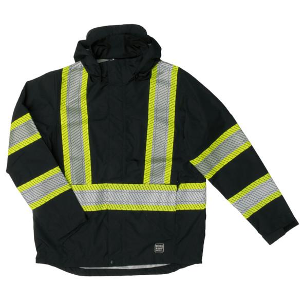 Work King Safety Class 1 Enhanced Vis Black Two-Tone X-Back Rain Jacket SJ05-BLK Front