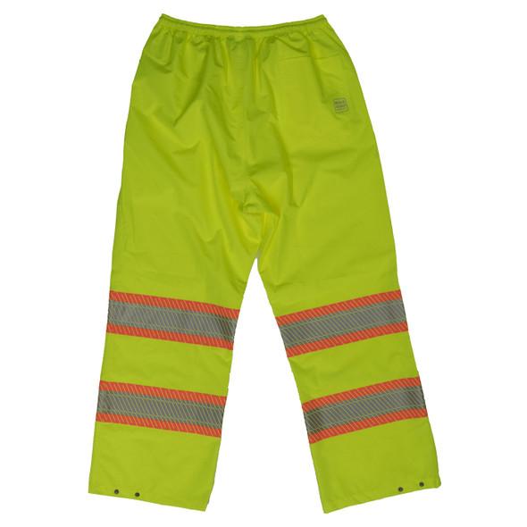 Work King Safety Class E Hi Vis Segmented Two-Tone Rain Pants SP02 Fluorescent Green Back