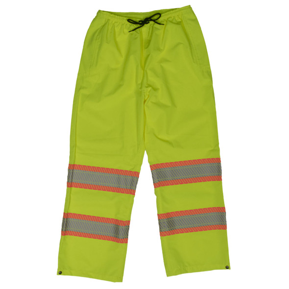 Work King Safety Class E Hi Vis Segmented Two-Tone Rain Pants SP02 Fluorescent Green Front