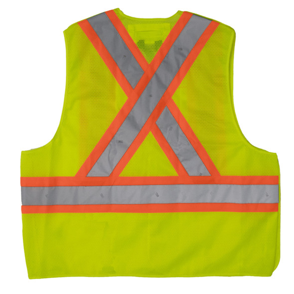 Work King Safety Class 2 Hi Vis Two-Tone X-Back 5-Point Breakaway Safety Vest S9i0 Fluorescent Green Back