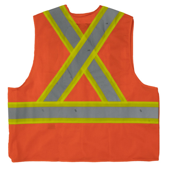 Work King Safety Class 2 Hi Vis Two-Tone X-Back 5-Point Breakaway Safety Vest S9i0 Fluorescent Orange Back