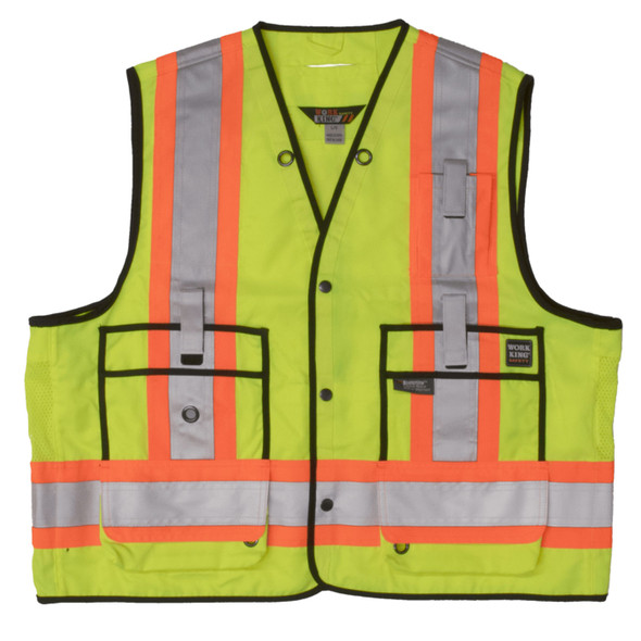 Work King Safety Class 2 Hi Vis Two-Tone X-Back Surveyor Safety Vest S313 Fluorescent Green Front