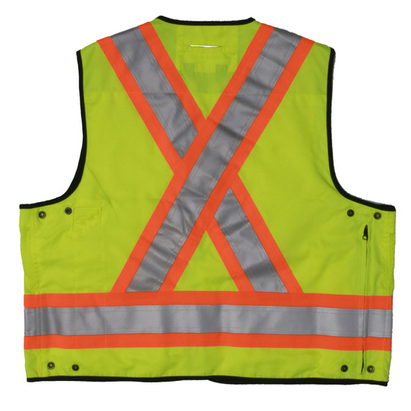 Work King Safety Class 2 Hi Vis Two-Tone X-Back Surveyor Safety Vest S313 Fluorescent Green Back