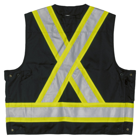 Work King Safety Class 1 Enhanced Vis Black Two-Tone X-Back Safety Vest S313BLK Back