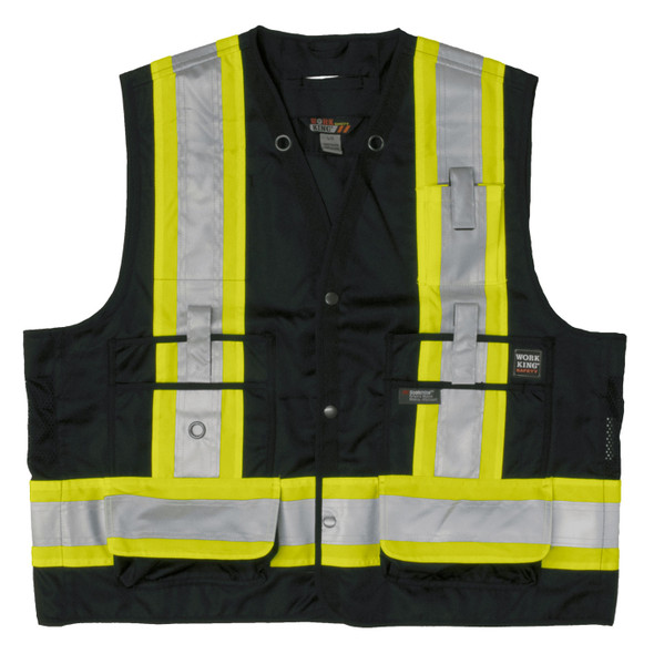 Work King Safety Class 1 Enhanced Vis Black Two-Tone X-Back Safety Vest S313BLK Front
