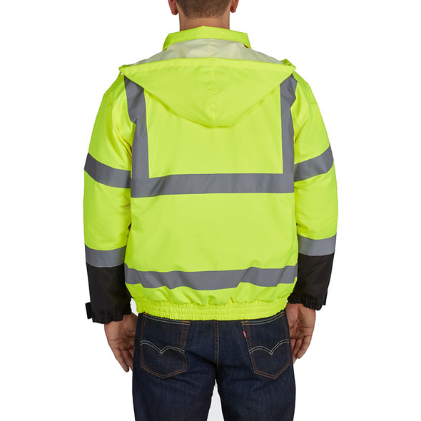 Utility Pro Class 3 Hi Vis Yellow Quilted Bomber Jacket UHV562 Back