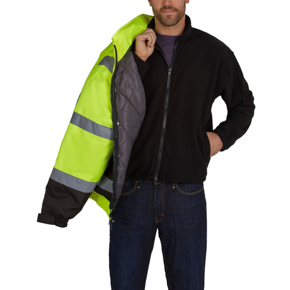 Utility Pro Class 3 Hi Vis Yellow 2-in-1 Bomber Jacket with Fleece Liner UHV563 with Liner