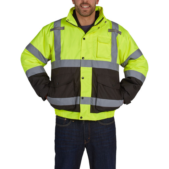 Utility Pro Class 3 Hi Vis Yellow 2-in-1 Bomber Jacket with Fleece Liner UHV563 Front