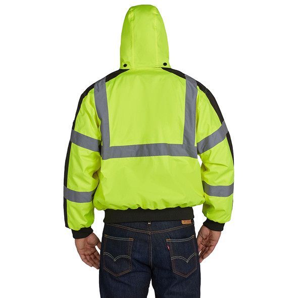 Utility Pro Class 3 Hi Vis Yellow Waterproof 3 Season Jacket UHV575 Back