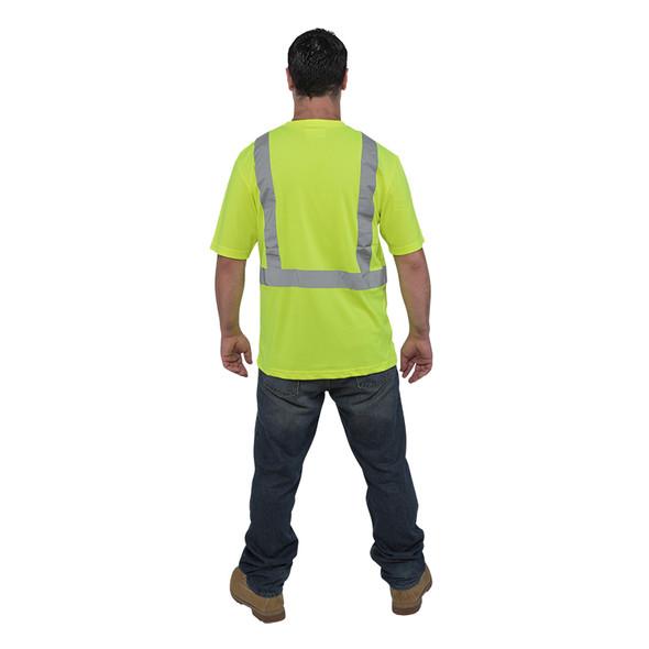 Utility Pro Class 2 Hi Vis Yellow Moisture Wicking T-Shirt UHV303 Back