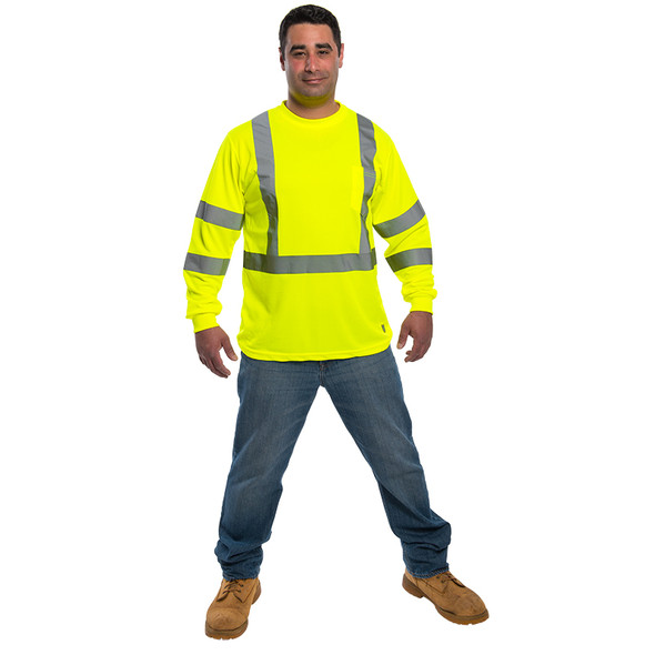 Utility Pro Class 3 Hi Vis Yellow Moisture Wicking Long Sleeve T-Shirt UHV403