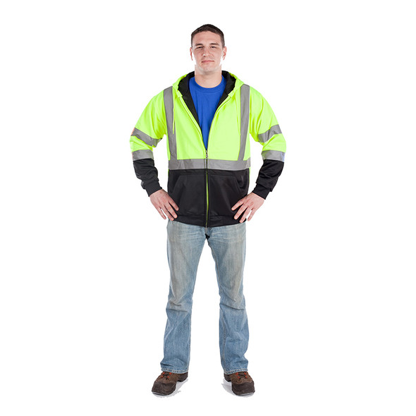 Utility Pro Class 3 Hi Vis Yellow Black Bottom Full Zip Hoodie with Teflon Protector UHV425 Model
