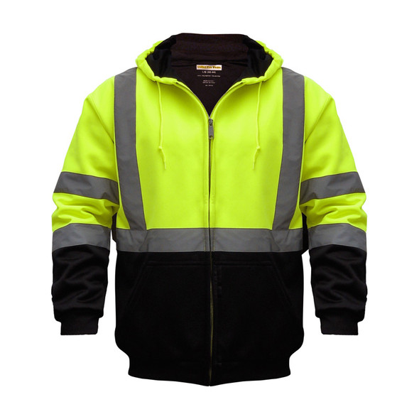 Utility Pro Class 3 Hi Vis Yellow Black Bottom Full Zip Hoodie with Teflon Protector UHV425 Front