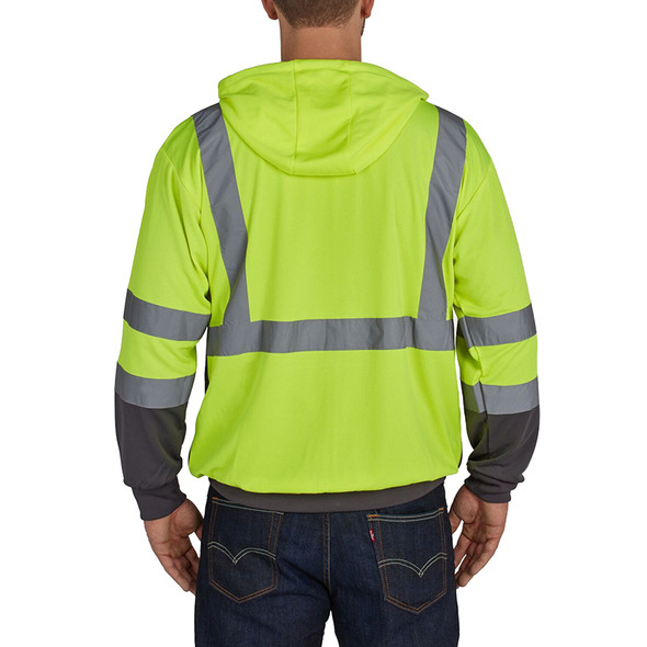 Utility Pro Class 3 Hi Vis Yellow Moisture Wicking Zip Up Hoodie with Teflon Protector UHV829 Back