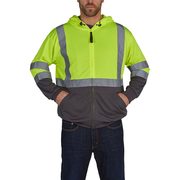 Utility Pro Class 3 Hi Vis Yellow Moisture Wicking Zip Up Hoodie with Teflon Protector UHV829 Front
