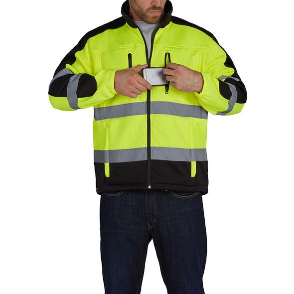 Utility Pro Class 3 Hi Vis Yellow Black Bottom Jacket with Teflon Protector UHV427 Front