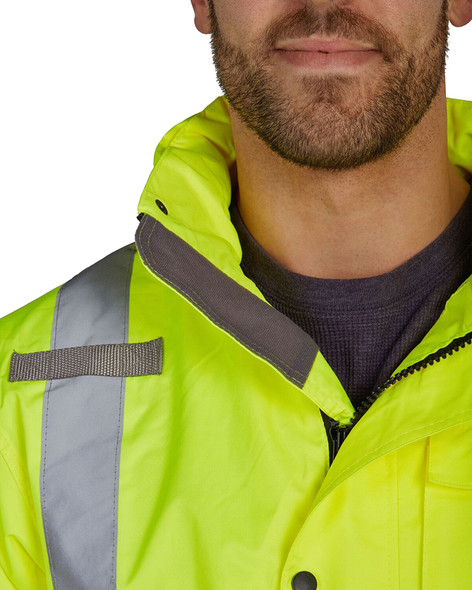 Utility Pro Class 3 Hi Vis Yellow Premium Rain Jacket with Teflon Protector UHVR642 Collar