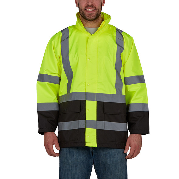 Utility Pro Class 3 Hi Vis Yellow Economy Rain Jacket with Teflon Protector UHV822 Front