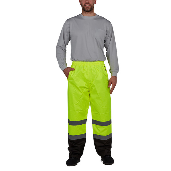 Utility Pro Non-ANSI Enhanced Visibility Yellow Waterproof Rain Pants with Teflon Protector UHV823