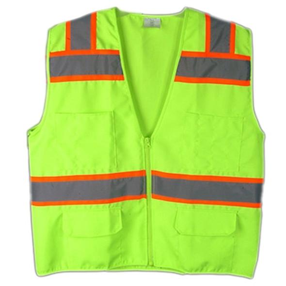 Macro Industries Class 2 Hi Vis Lime Solid Polyester 6 Pocket Safety Vest SV5000