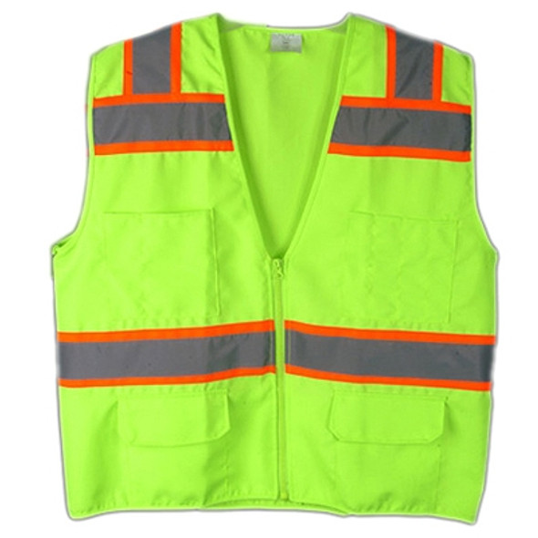 Macro Industries Class 2 Hi Vis Lime Solid Polyester 6 Pocket Safety Vest SV5000