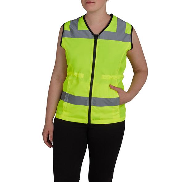 Utility Pro Class 2 Hi Vis Yellow Adjustable Ladies Vest with Teflon Protector UHV662 Front
