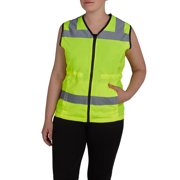 Utility Pro Class 2 Hi Vis Yellow Adjustable Ladies Vest with Teflon Protector UHV662 Front