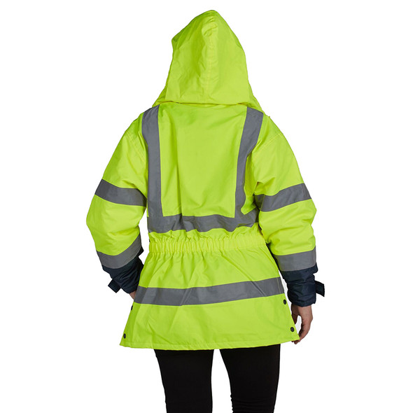 Utility Pro Class 2 Hi Vis Yellow Navy Bottom Ladies Parka with Teflon Protector UHV664 Back