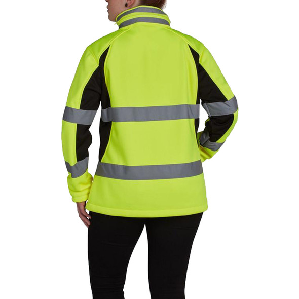 Utility Pro Class 2 Hi Vis Yellow Ladies Soft Shell Jacket with Teflon Protector UHV668 Back