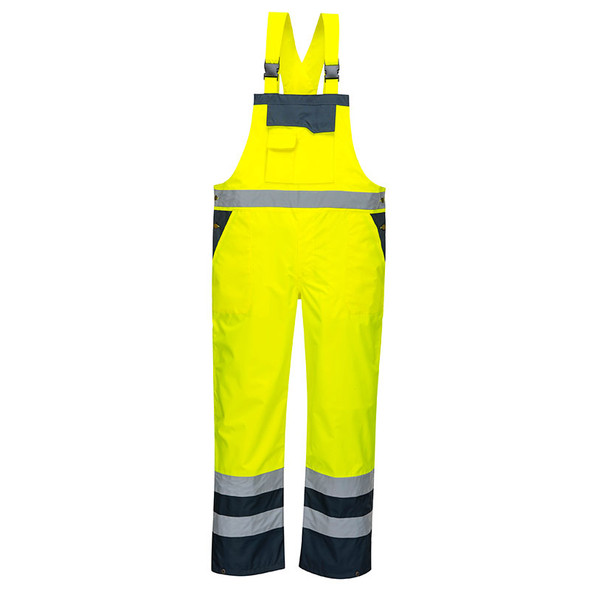 PortWest Class E Hi Vis Waterproof Unlined Bib S488 Front