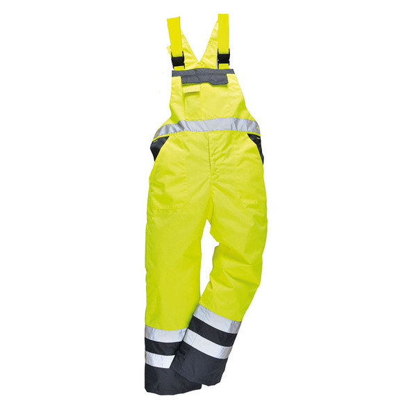 PortWest Class E Yellow Lined Bib with Navy Bottom S489