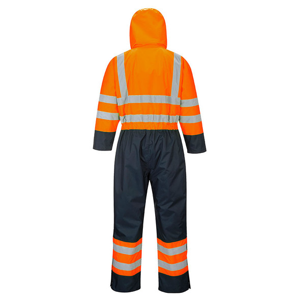 PortWest Class 3 Hi Vis Quilt Lined Coveralls S485 Orange/Navy Back