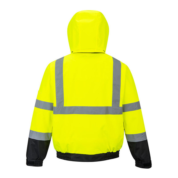 PortWest Class 3 Hi Vis 2-in-1 Bomber Jacket US364 Back Hood