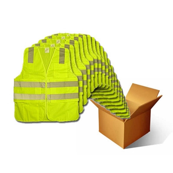 Macro Industries Case of 48 Class 2 Hi Vis Lime Break Away Mesh Safety Vest SV7000-CASE
