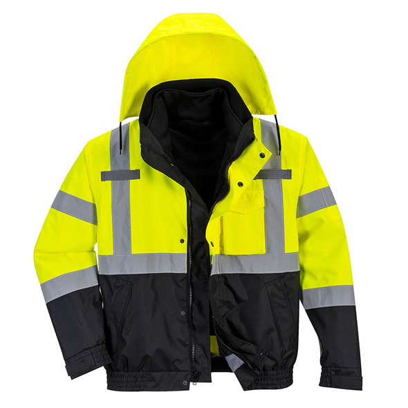 PortWest Class 3 Hi Vis 3-in-1 Bomber Jacket US365 Front with Hood
