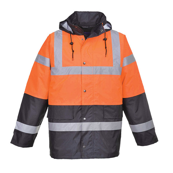 PortWest Class 3 Hi Vis Two-Tone Traffic Jacket US467 Orange/Black Front