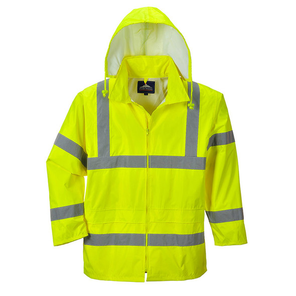 PortWest Class 3 Hi Vis Rain Jacket UH440 Yellow with Hood