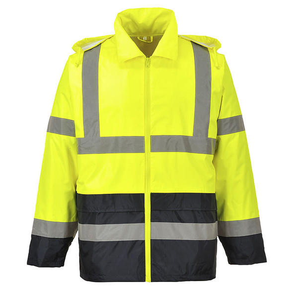 PortWest Class 3 Hi Vis Yellow with Black Bottom Classic Rain Jacket UH443 Back