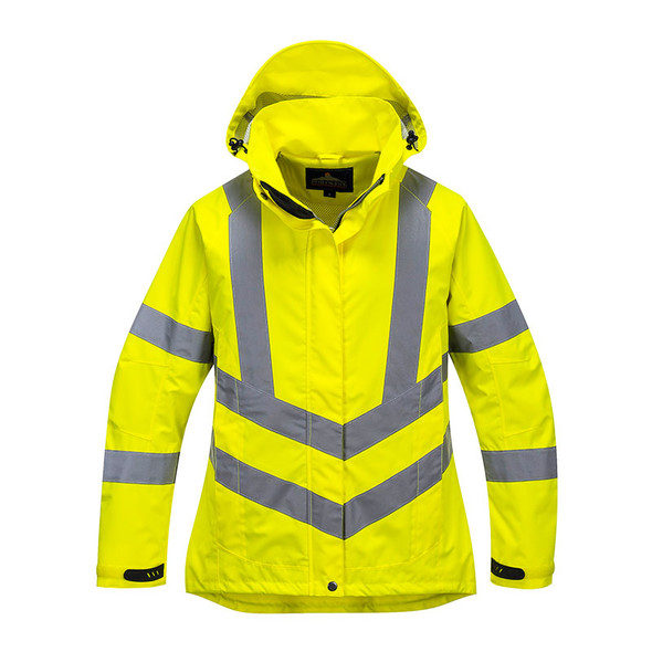 PortWest Class 3 Hi Vis Yellow Ladies Breathable Jacket LW70 Front