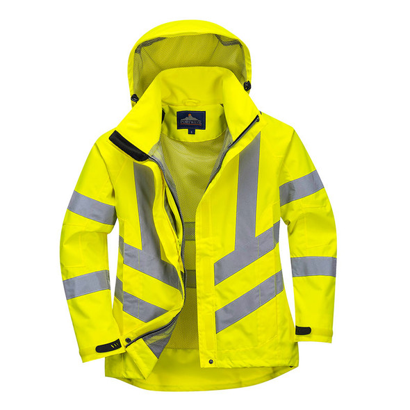 PortWest Class 3 Hi Vis Yellow Ladies Breathable Jacket LW70 Front Unzipped