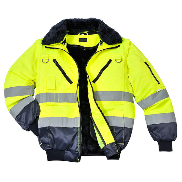 PortWest Class 3 Hi Vis 3-in-1 Pilot Jacket UPJ50 Yellow Front Unzipped