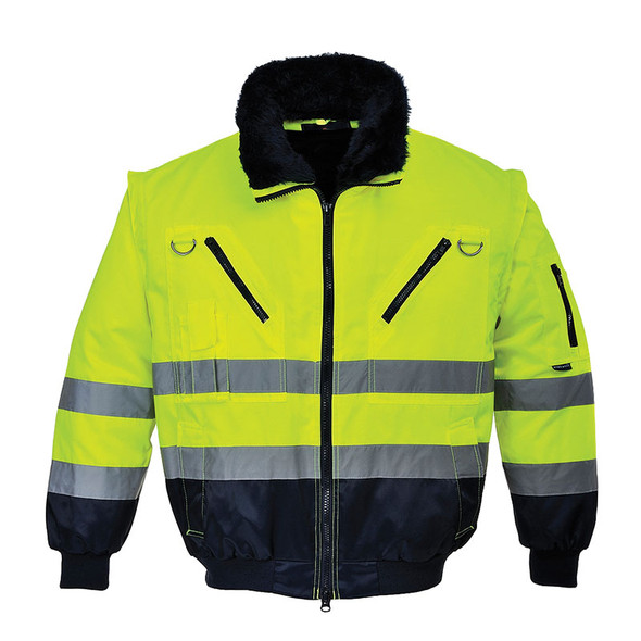 PortWest Class 3 Hi Vis 3-in-1 Pilot Jacket UPJ50 Yellow with Fur Collar