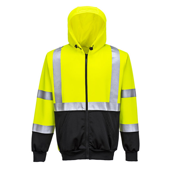 PortWest Class 3 Hi Vis Yellow with Black Bottom Hoody UB315 Front